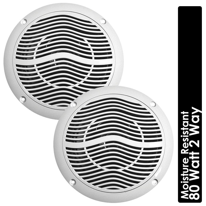 8 Ohm 80W White Moisture Resistant Ceiling Speakers Bathroom Kitchen Boats Home